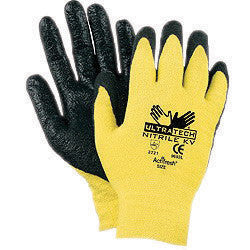Memphis Medium UltraTech 13 Gauge Cut Resistant Black Nitrile Dipped Palm And Finger Coated Work Gloves With Seamless Kevlar Liner And Knit Wrist