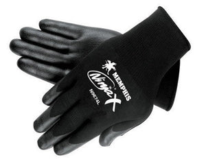 Memphis Large Ninja X 15 Gauge Black Nitrile, Polyurethane And Bi-Polymer Dipped Palm And Fingertip Coated Work Gloves With Lycra And Nylon Liner And Knit Wrist