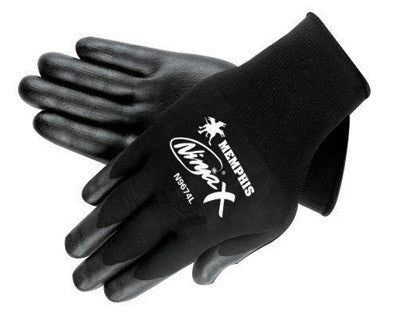 Memphis Small Ninja X 15 Gauge Black Nitrile, Polyurethane And Bi-Polymer Dipped Palm And Fingertip Coated Work Gloves With Lycra And Nylon Liner And Knit Wrist