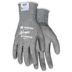 Memphis Medium Ninja Force 13 Gauge Cut Resistant Gray Polyurethane Dipped Palm And Finger Coated Work Gloves With Dyneema And Fiberglass Liner And Knit Wrist