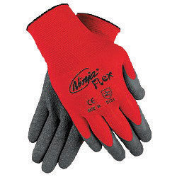 Memphis Large Ninja Flex 15 Gauge Gray Latex Dipped Palm Coated Work Gloves With Nylon Liner And Knit Wrist