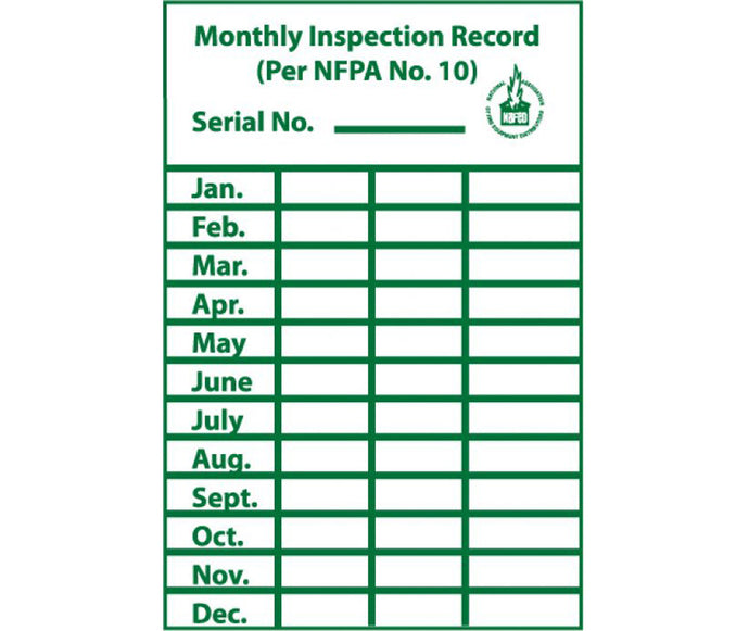 Monthly Inspection Record Label - Roll