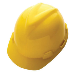 MSA Yellow Class E Type I V-Gard GHDPE Slotted Style Hard Cap With 4-Point Fas-Trac Ratchet Suspension
