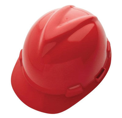 MSA Red Class E Type I V-Gard GHDPE Slotted Style Hard Cap With 4-Point Fas-Trac Ratchet Suspension