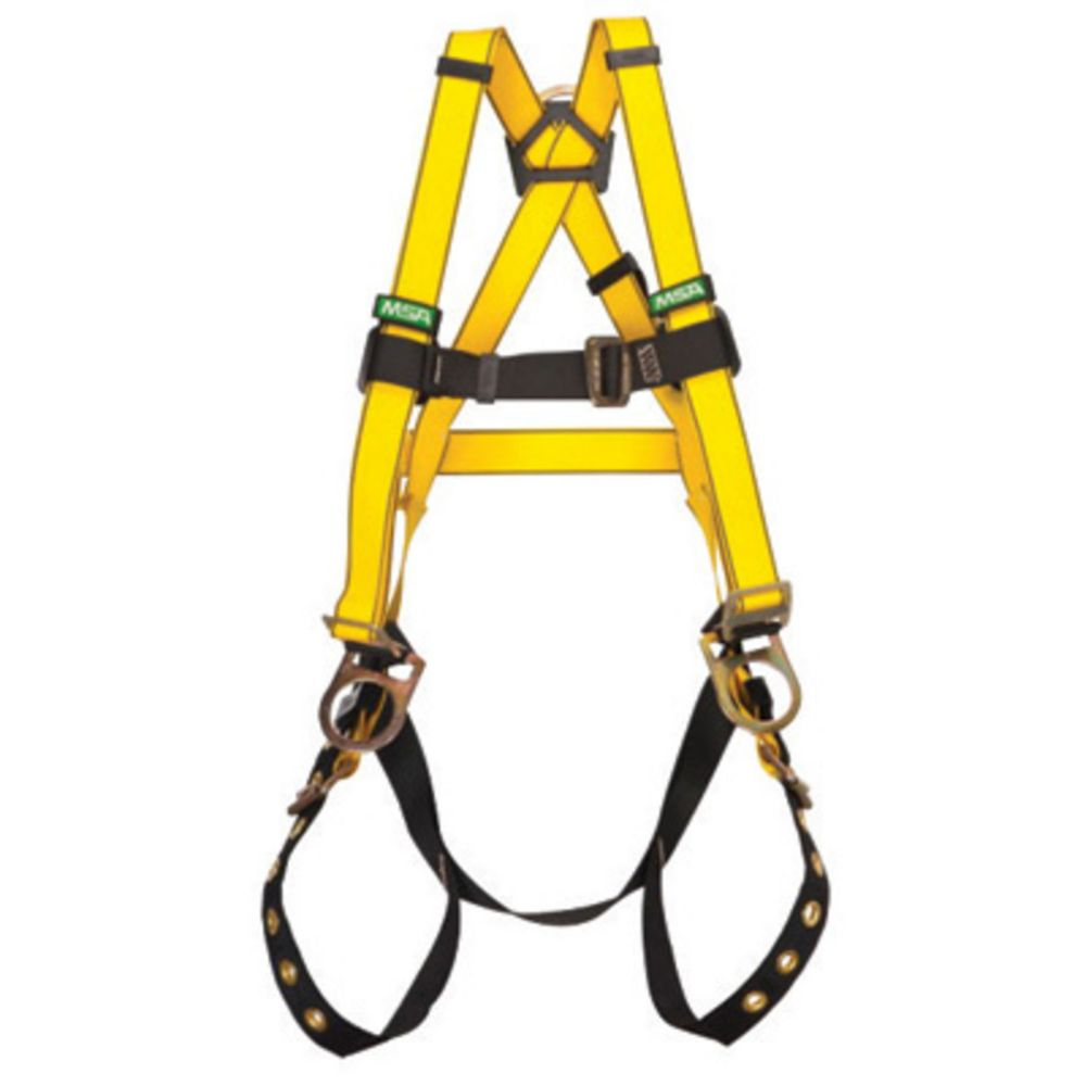 MSA Super X-Large Workman Construction Style Harness With Qwik-Fit Chest Strap Buckle, Tongue Leg Strap Buckle, Back And Hip D-Ring, Integral Back Pad And Tool