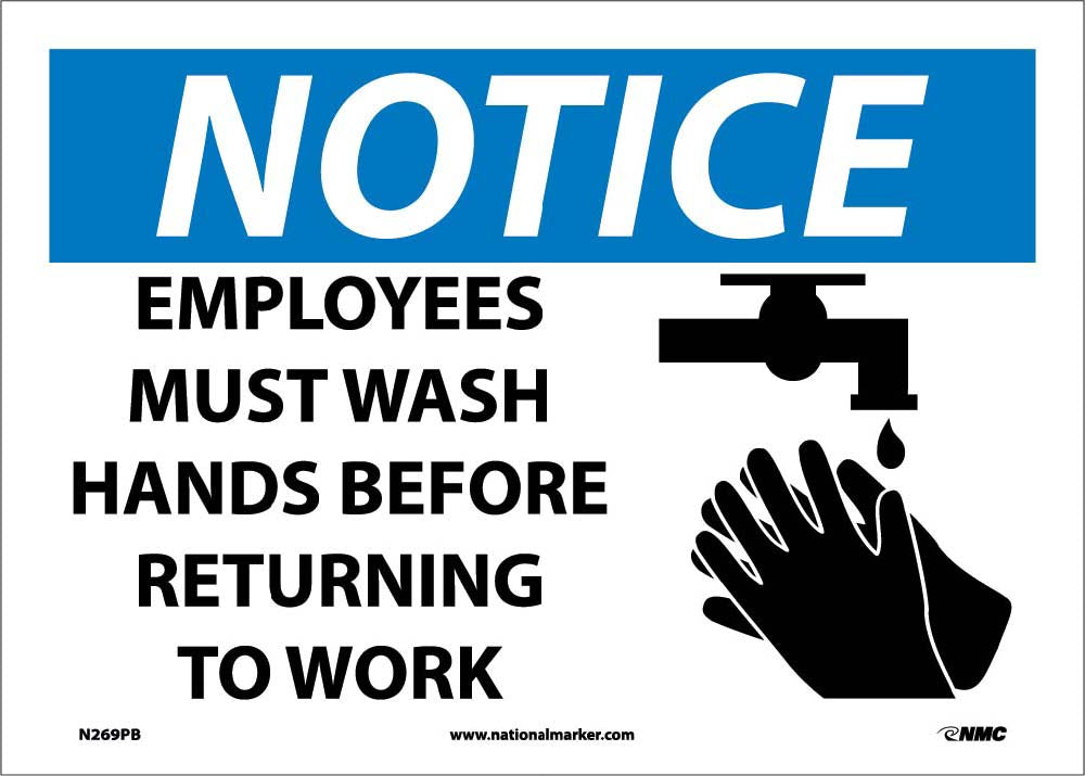 Notice Employees Must Wash Hands Sign Esafety Supplies Inc