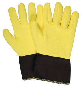 "National Safety Apparel Large 12"" Yellow 22 Ounce Kevlar Terrybest Terry Cloth Reversed Wool Lined Heat Resistant Gloves With FR Brown Duck Cuff"