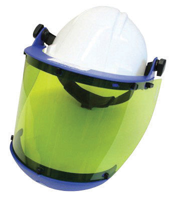 National Safety Apparel Level 2 Arc 10 Green Propionate Faceshield Unit With Slotted Hardhat Adapter And Chin Guard