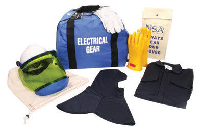 National Safety Apparel Large Navy UltraSoft ArcGuard Level 2 Flame Resistant Arc Flash Personal Protection Equipment Kit With Size 9 Gloves