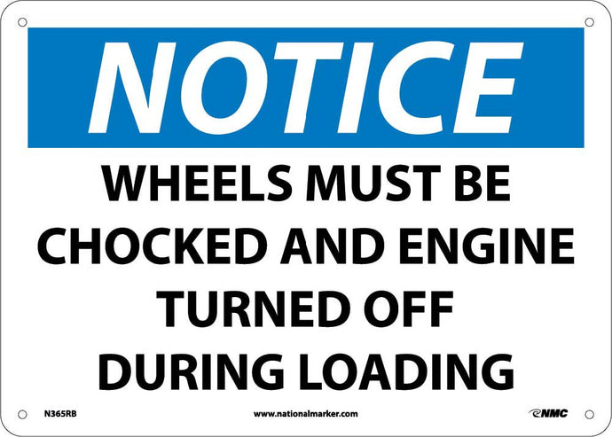 Notice Wheels Must Be Chocked Sign