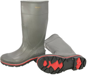 "Servus By Honeywell Size 10 PRO Gray 15"" PVC Knee Boots With TDT Dual Compound Red And Black Outsole And Removable Insole"