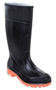 "Servus By Honeywell Size 9 PRM Black 15"" PVC Knee Boots With Self-Cleaning Orange Outsole, Steel Toe And Removable Insole"