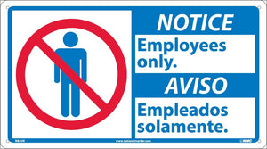 Notice Employees Only Sign - Bilingual