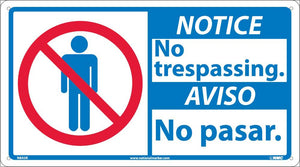 Notice No Trespassing Sign - Bilingual