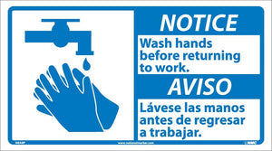 Notice Wash Hands Before Work Sign - Bilingual