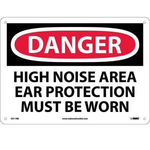 Danger High Noise Area Ear Protection Must Be Worn Sign