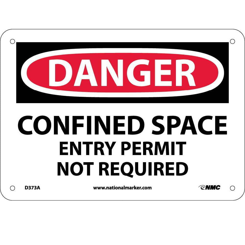 Danger Confined Space Entry Permit Not Required Sign