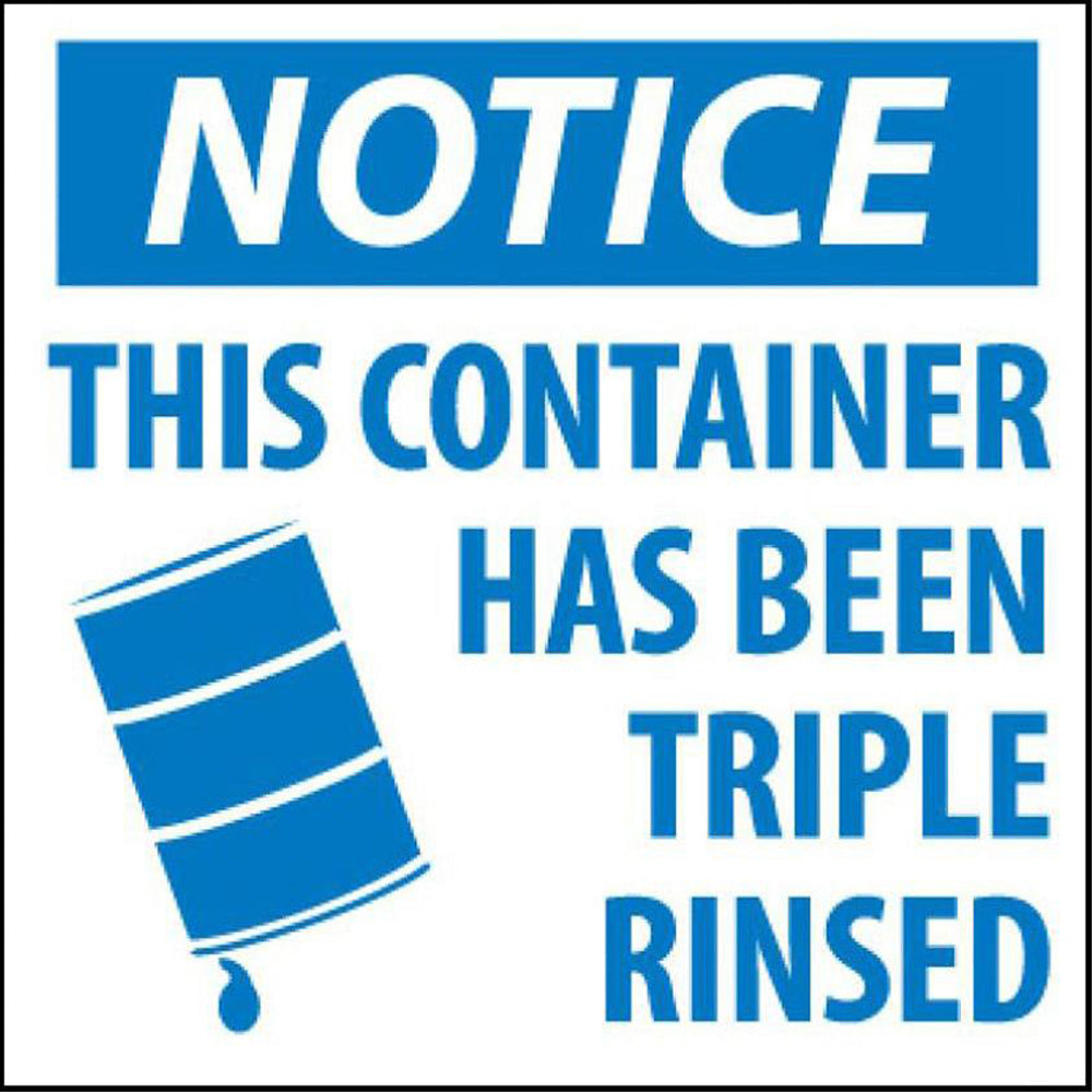 Notice This Container Has Been Rinsed Hazmat Label - Roll