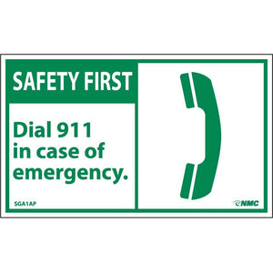 Safety First Dial 911 In Case Of Emergency Label - 5 Pack