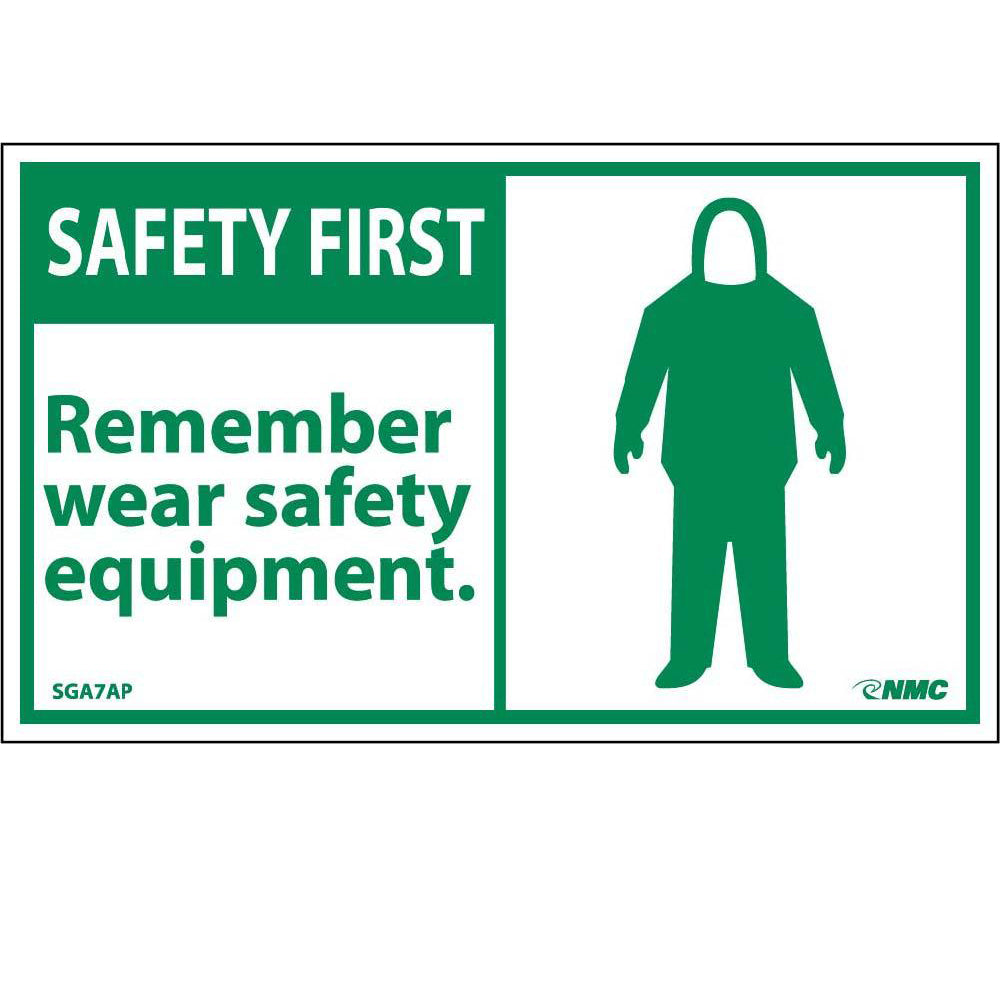 Safety First Remember Wear Safety Equipment Label - 5 Pack