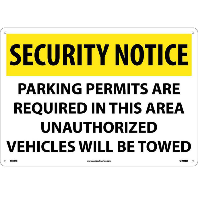 Security Notice Permits Are Required In This Area Sign