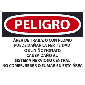 Lead Work Area May Cause Cancer Sign - Spanish