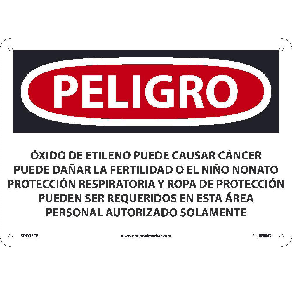 Ethylene Oxide May Cause Cancer Sign - Spanish