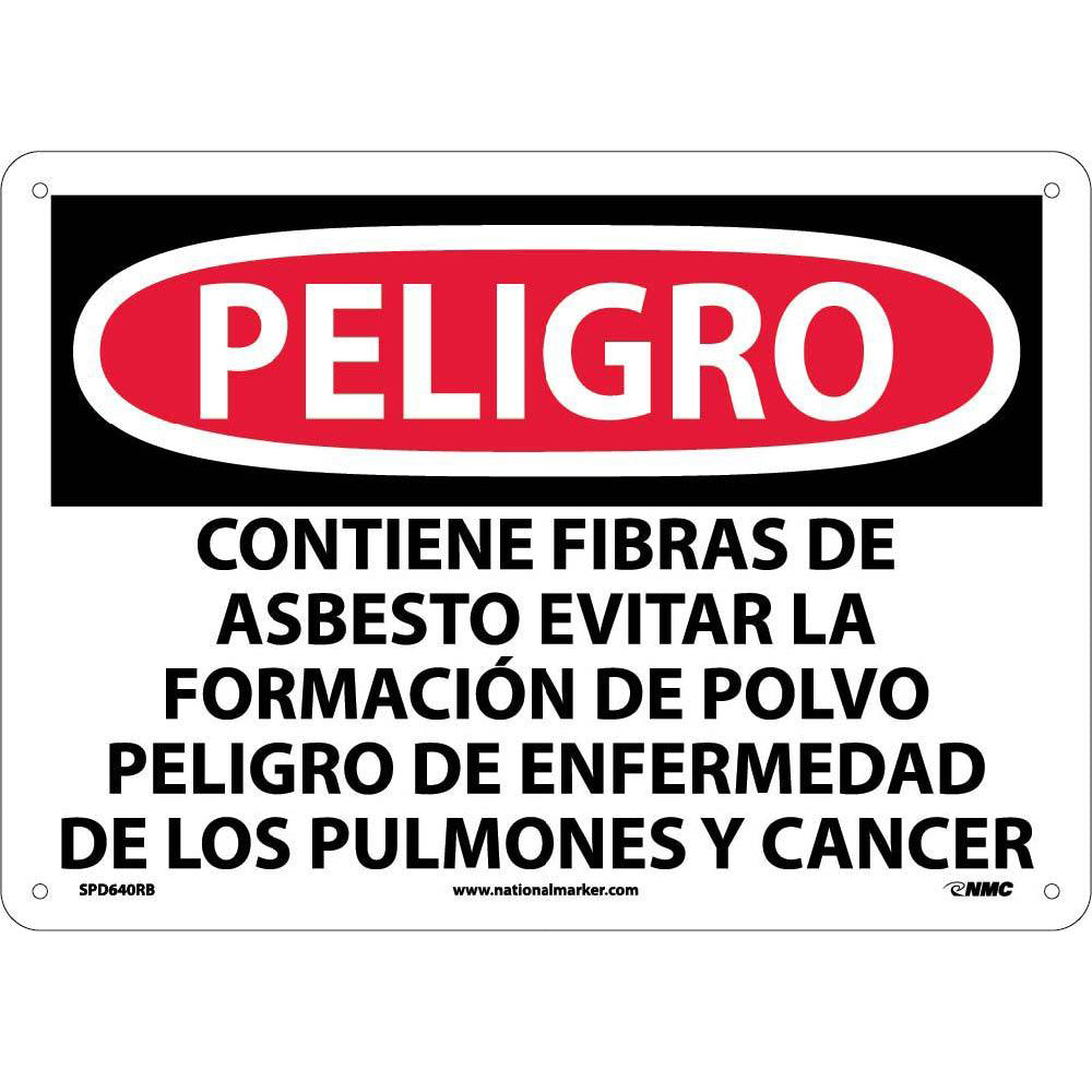 Danger Contains Asbestos Sign - Spanish