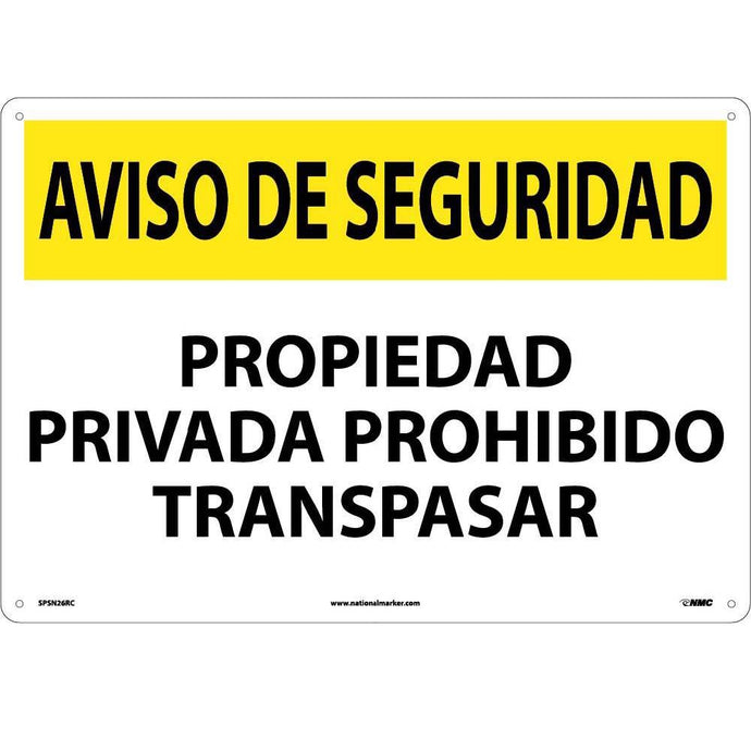 Security Notice Private Property No Trespassing Sign - Spanish