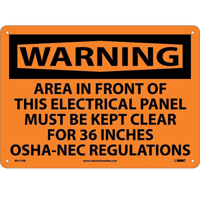 Warning Electrical Panel Must Be Kept Clear Sign