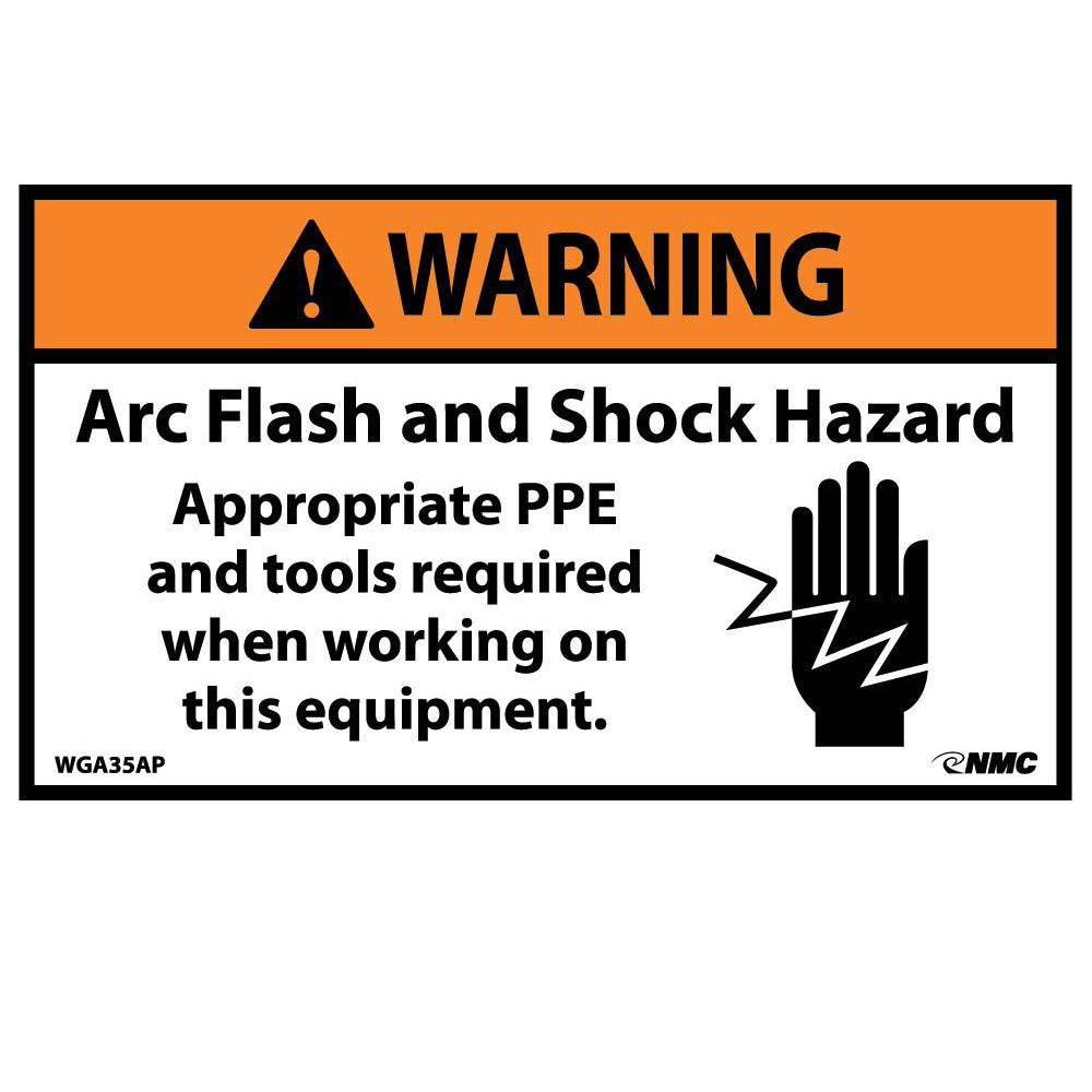 Warning Arc Flash Hazard Label - 5 Pack