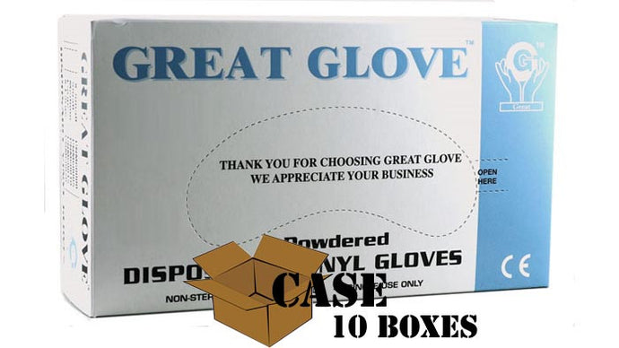 Great Glove - Powdered Disposable Vinyl Gloves - Case