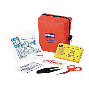 "North By Honeywell Redi-Care 5"" X 5 1/2"" X 2 1/2"" Red Nylon Portable Mount Small 5 Person Responder First Aid Kit"