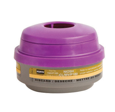 North by Honeywell Chlorine/Mercury Vapors/Particulate P100 APR Cartridge For 5500, 7700, 5400 And 7600 Series Respirators