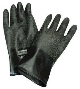 "North by Honeywell Size 8 Black 11"" 16 mil Unsupported Butyl Chemical Resistant Gloves With Rough Grip-Saf Palm Finish And Rolled Beaded Cuff"
