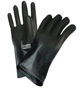"North by Honeywell Size 7 Black 11"" 16 mil Unsupported Butyl Chemical Resistant Gloves With Smooth Finish And Rolled Beaded Cuff"
