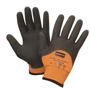 North by Honeywell Size 9 Hi-Viz Orange And Black Grip Plus 5 15 gauge Heavy Weight Engineered Fiber Dipped Cut Resistant Gloves With Knitwrist And Thermal Lining