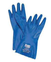 "North by Honeywell Size 10 Blue Nitri-Knit 26"" Interlock Knit Lined 1"" Supported Nitrile Chemical Resistant Gloves With Rough Finish, Elastic Cuff And Extended Sleeve"