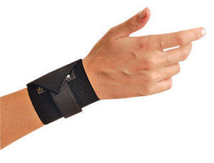 OccuNomix Black Woven Elastic Ambidextrous Wrist Support With Wrap Around Hook And Loop Closure Without Thumb Loop