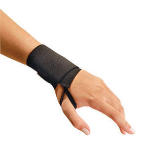 "OccuNomix 3"" Black Wrist Assist Woven Elastic Ambidextrous Wrist Support With Hook And Loop Closure And Thumb Loop"