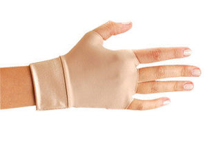 OccuNomix Small Beige Original Occumitts Nylon And Spandex Fingerless Therapeutic Support Gloves