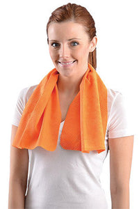 "OccuNomix 29 1/2"" X 14"" Orange Miracool Light Weight Cooling Towel"