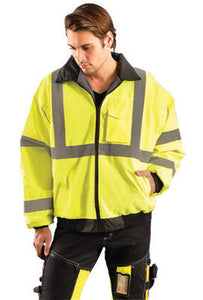 "OccuNomix Medium Hi-Viz Yellow Value Economy Bomber Polyurethane Coated Polyester Class 3 Jacket With Front Zipper Closure, 2"" Silver Reflective Tape, Sealed Seams, Black Collar,"