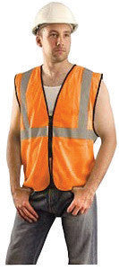 "OccuNomix Small - Medium Hi-Viz Orange Value Polyester Mesh Standard Vest With Zipper Closure And 2"" Silver Reflective Tape And 1 Pocket"