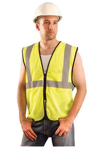 "OccuNomix 4X - 5X Hi-Viz Yellow Value Polyester Mesh Standard Vest With Zipper Closure And 2"" Silver Reflective Tape And 1 Pocket"