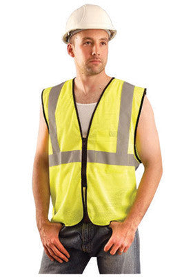 OccuNomix 2X - 3X Hi-Viz Yellow Value Polyester Mesh Standard Vest With Zipper Closure And 2
