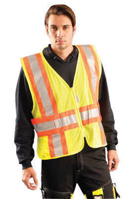 OccuNomix X-Large - 2X Hi-Viz Yellow OccuLux Premium Light Weight Polyester Mesh Class 2 Two-Tone Expandable Vest With Front Zipper Closure And 3M Scotchlite 2