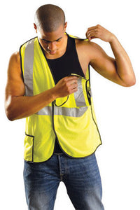 "OccuNomix 2X Hi-Viz Yellow OccuLux Premium Light Weight Polyester Mesh Class 2 5-Point Break-Away Vest With Front Hook And Loop Closure And 3M Scotchlite 2"" Reflective Tape And 2 Pockets"