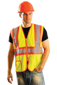 "OccuNomix Large Hi-Viz Yellow Classic Light Weight Polyester Mesh Class 2 Two-Tone Vest With Front Zipper Closure And 2"" Silver Reflective Tape Backed by Contrasting Trim And 2 Pockets"