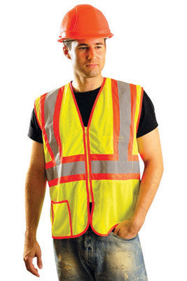 OccuNomix Large Hi-Viz Yellow Classic Light Weight Polyester Mesh Class 2 Two-Tone Vest With Front Zipper Closure And 2